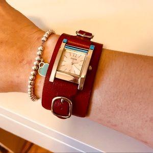 GUESS- Beautiful genuine red leather cuff watch!